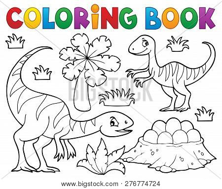 Coloring Book Dinosaur Subject Image 1 - Eps10 Vector Picture Illustration.