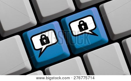 Blue Computer Keyboard With Two Speech Bubbles Showing Secure Communication