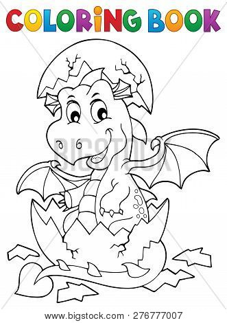 Coloring Book Dragon Hatching From Egg 1 - Eps10 Vector Picture Illustration.
