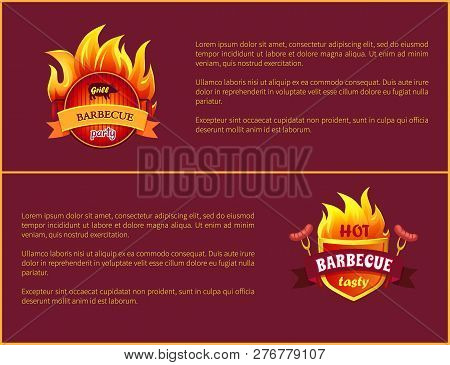 Hot Barbecue Grill Sign And Tasty Sausages. Frankfurters On Forks Vector Advertisement Leaflets. Fir