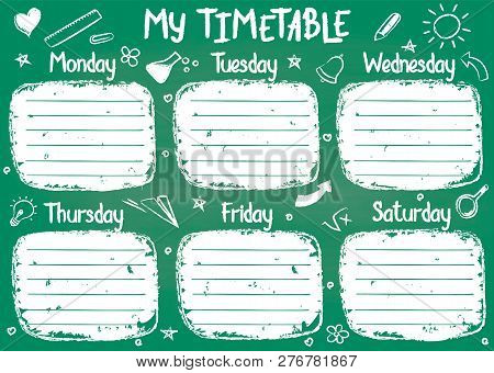 School Timetable Template On Chalk Board With Hand Written Chalk Text. Weekly Lessons Shedule In Ske