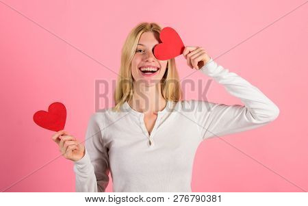 Valentines Day Has Traditionally Been Seen As More Significant For Women. Girl Hold Heart Symbol Lov
