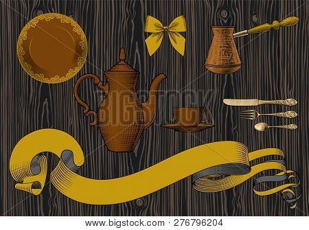Coffee collection. Cup of coffee, spoon, coffee pot, arabic turk. Coffee concept. Vintage engraving stylized drawing.
