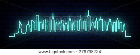 Blue Neon Skyline Of New York City. Bright Nyc Long Banner. Vector Illustration.