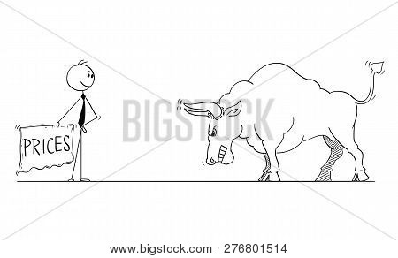 Cartoon Stick Man Drawing Conceptual Illustration Of Businessman Bullfighter Or Matador Provoking Bi