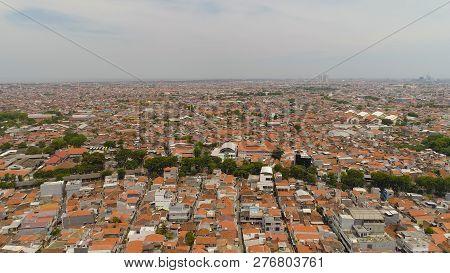 Aerial Cityscape Densely Built Asian City Surabaya With Buildings And Houses, City Skyline. Urban En
