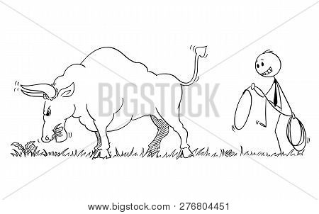Cartoon Stick Man Drawing Conceptual Illustration Of Businessman Sneaking To Catch Big Bull As Risin