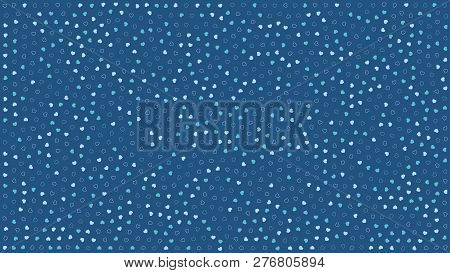 Cute Hearts. Background With Small Hearts. Pattern With Small Blue Hearts On Blue Background. Templa