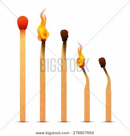 Realistic Matches With Fire Flames On Different Burning Stages