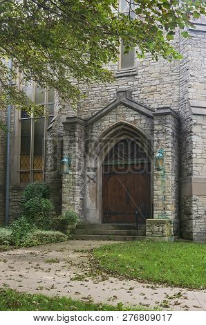 Gothic Style Church Entrance And Walkway Leading To Door In Milwaukee Wisconsin