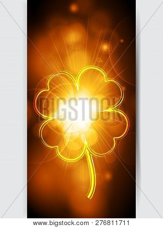 Vertical Golden Glowing Panel With Fluorescent Neon Lucky Shamrock Over White Background
