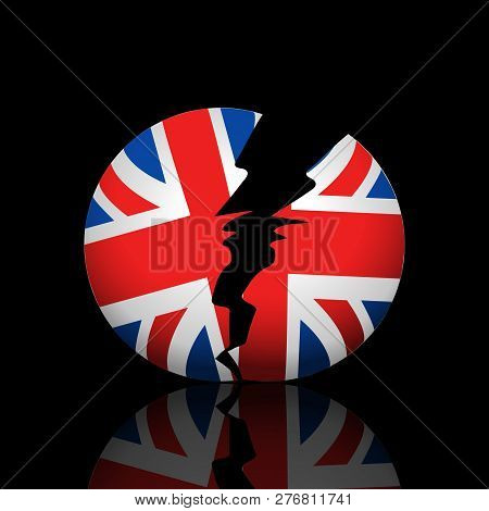 Broken Ball With British Flag And Reflection Over Black Background