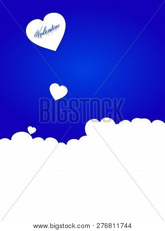 Valentine Copy Space Blue Background With Hearts Silhouette And Floral Decorative Text