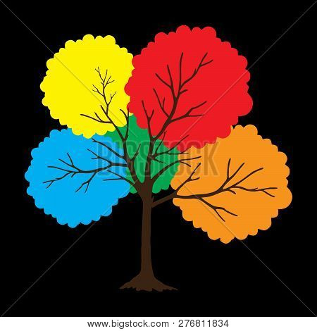 Tree With Full Color Leaves On Black Background. Vector Tree Icon. Tree Forest, Leaf Tree Isolated,