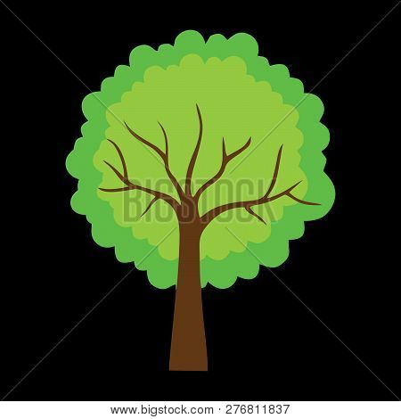 Tree With Green Leaves On Black Background. Vector Tree Icon. Tree Forest, Leaf Tree Isolated, Tree