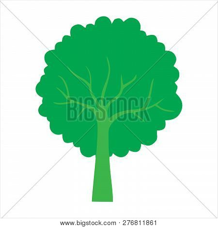 Green Silhouette Tree With Leaves. Tree Icon Silhouette   Isolated On White Background. Tree Icon Si