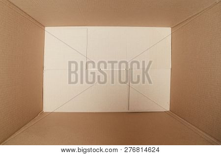 Empty Open Rectangular Cardboard Box Close Up. Moving Boxes. Cardboard Box. Stack Of Boxes.