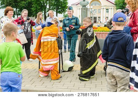 Horki, Belarus - July 25, 2018:children Of Different Ages Dress The Uniform Of Lifeguards Of Service