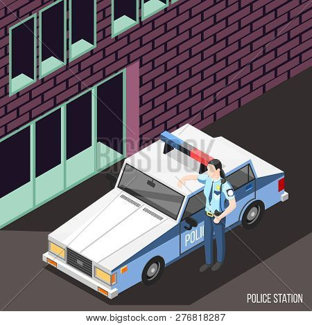 Police Station Isometric Background With Female Character In Policeman Uniform Standing Near Police