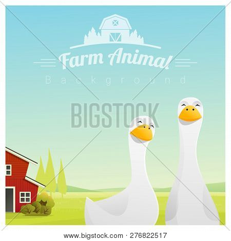Farm Animal And Rural Landscape Background With Ducks , Vector , Illustration