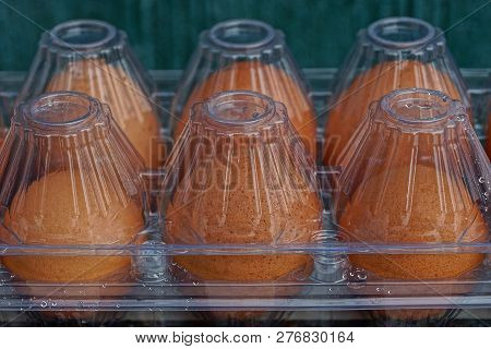 Texture Of Fresh Brown Eggs In Transparent Closed Plastic Packaging