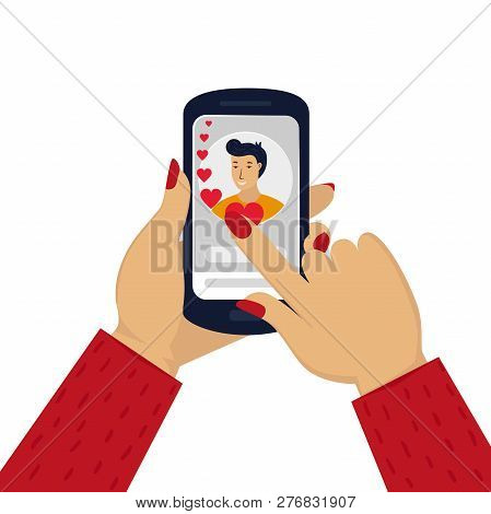 Wemens Hand Holding Phone With With A Man Portrait. Online Love Chat In Internet. Online Dating Or D
