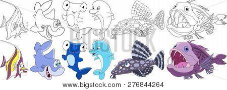 Cartoon Underwater Animals Set. Moorish Idol, Shark, Hammer-head, Dolphin, Catfish, Angler Fish. Col