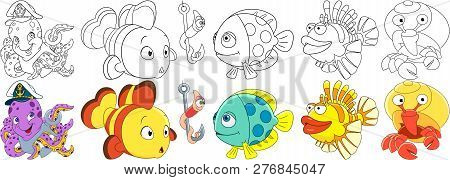 Cartoon Underwater Animals Set. Octopus With Anchor In A Captain Hat, Clown Fish, Worm On A Fishing
