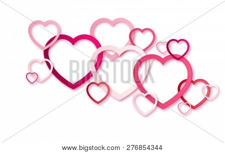 Realistic 3d Colorful Red And White Romantic Valentine Hearts Background Floating With Happy Valenti