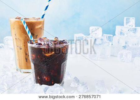 Summer Drink Iced Coffee In A Glass And Ice Coffee With Cream In A Tall Glass Surrounded By Ice On W