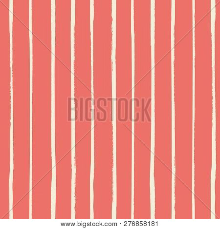 Vector Vertical White Grunge Stripes Painted With A Brush As A Seamless Vector Pattern On Living Cor