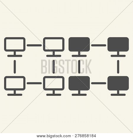 Computer Network Line And Glyph Icon. Home Network Vector Illustration Isolated On White. Web Net Ou