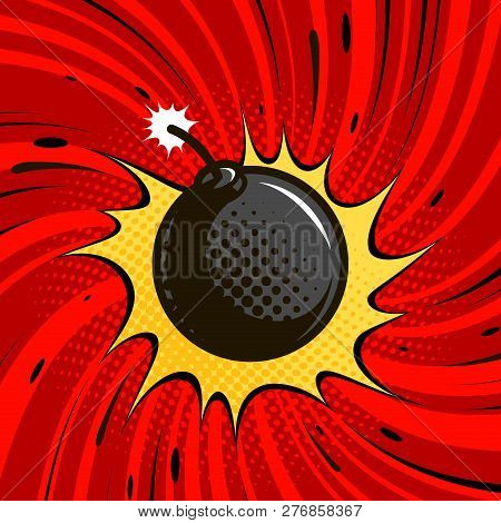Comic Bomb Explodes. Dynamite, Round Cannonball With Fire. Cartoon Vector Illustration