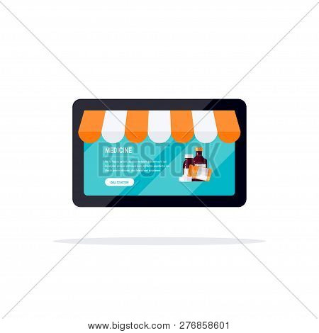 Online Pharmacy Concept. Tablet With Opened Webpage Of A Drugstore. Vector Illustration In Flat Styl