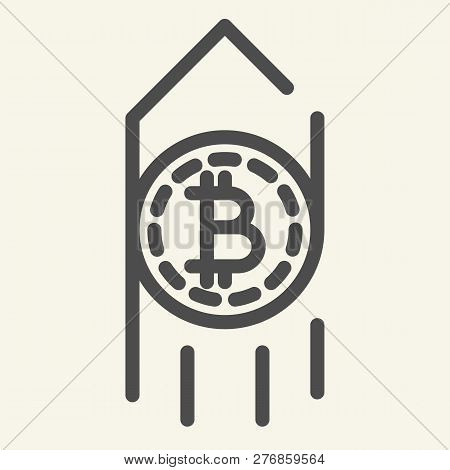 Growth Bitcoin Line Icon. Arrow Up With Bitcoin Vector Illustration Isolated On White. Cryptocurrenc