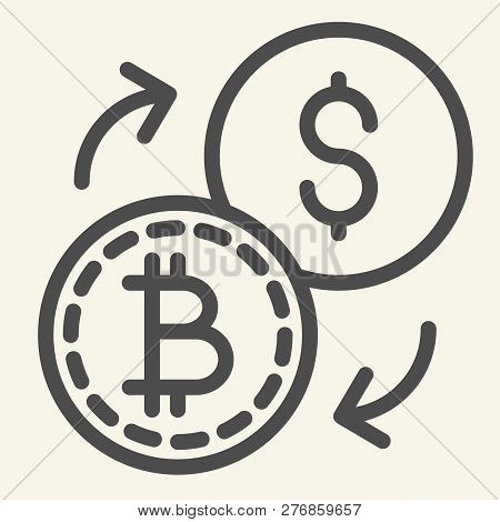 Bitcoin To Dollar Exchange Line Icon. Cryptocurrency Exchange Vector Illustration Isolated On White.