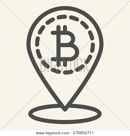 Bitcoin Location Line Icon. Bitcoin And Map Pin Vector Illustration Isolated On White. Cryptocurrenc