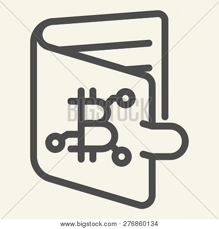 Bitcoin Wallet Line Icon. Bitcoin Purse Vector Illustration Isolated On White. Cryptocurrency Outlin