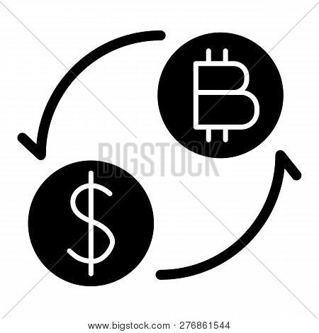 Coins Of Dollar And Bitcoin With Arrows Solid Icon. Dollar And Bitcoin Exchange Vector Illustration