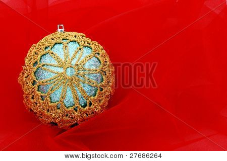 Snowflake Ornament On Red