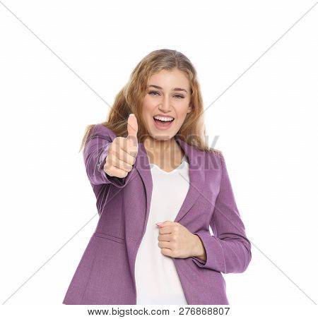 Happy Young Businesswoman Showing Thumb Up Gesture On White Background. Celebrating Victory