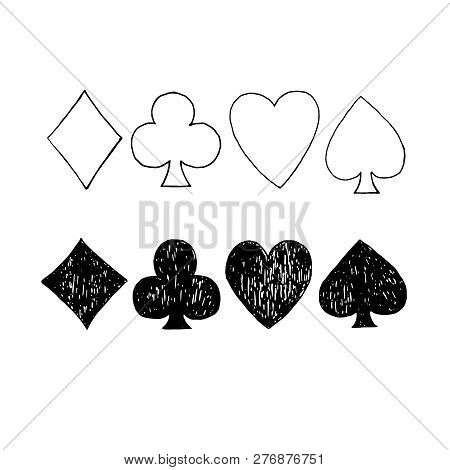 Vector Hand Drawn Playing Cards Icons. Playing Card Suits Spades, Hearts, Diamonds And Clubs.
