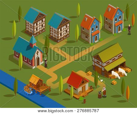 Medieval Settlement Architecture Flat Isometric Composition With Farm Church Forge Buildings Family