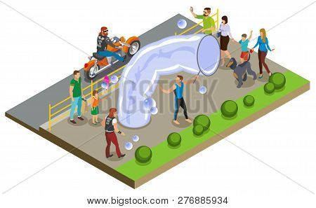 Bubble show and entertainment composition with performers and spectators symbols isometric vector illustration poster