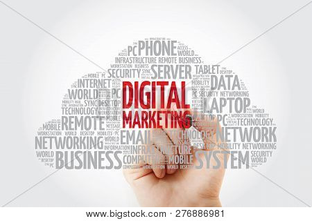 Digital Marketing Word Cloud With Marker, Business Concept Background
