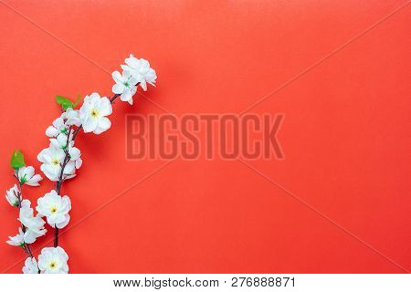 Top View Aerial Image Shot Of Arrangement Decoration Chinese New Year & Lunar New Year Holiday Backg