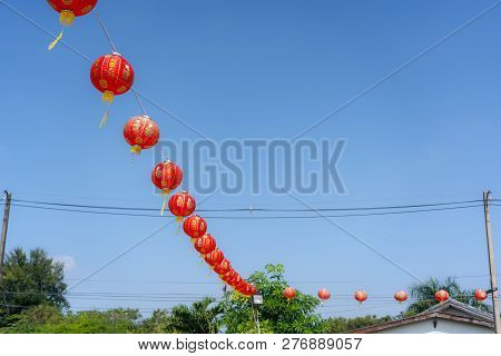 Shot Of Arrangement Decoration Chinese New Year & Lunar New Year Holiday Background Concept.china La