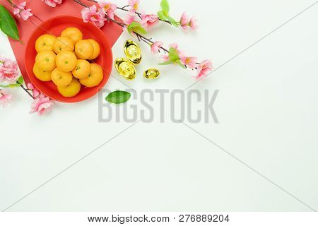 Above View Image Shot Of Accessories On Lunar New Year & Chinese New Year Holiday Background Concept