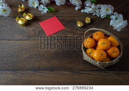 Table Top View Of Accessories On Lunar New Year & Chinese New Year Vacation Concept Background.orang