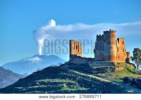 Picturesque View Of Mazzarino Medieval Castle With The Mount Etna In The Background, Caltanissetta,